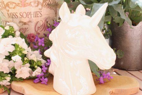 Einhorn Kopf Dekofigur Skulptur Büste Unicorn Fantasy