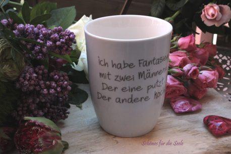 Mea Living Henkelbecher Sprüche Tasse Fantasien mit 2 Männern