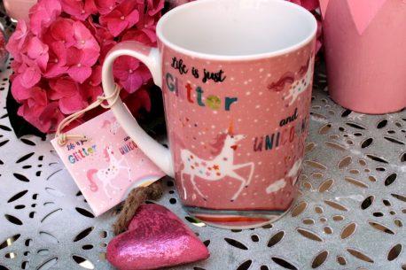 PPD Henkelbecher Sprüche Tasse Life is just Glitter and Unicorns