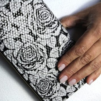 Geldbörse Portemonnaie Damen Black Silber Rose