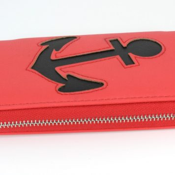 Geldbörse Portemonnaie Damen Rot Anker