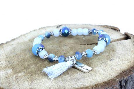 Armband Lichtfarbe Aqua Blau Troddel