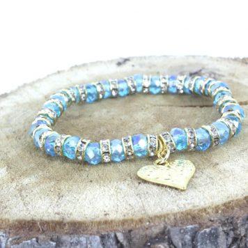Armband Lichtfarbe Aqua Blau mit Herzanhänger Goldfarben