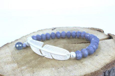 Armband Lichtfarbe Graublau mit Verbinder Feder
