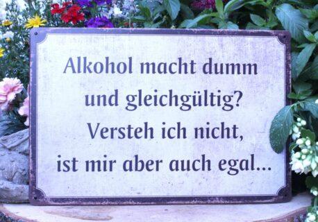 Deko Blechschild Coole Designs Alkohol macht dumm und gleichgültig