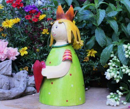 Deko Figur Dekoration Blechpuppe Kleiner König mit Herz Green