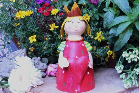 Deko Figur Dekoration Blechpuppe Kleiner König mit Herz Red