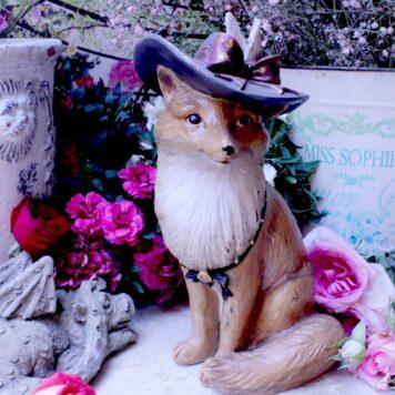 Deko Figur Dekoration Fuchs mit Hut