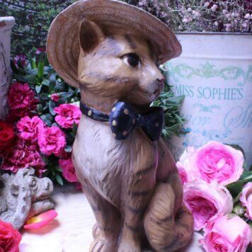 Deko Figur Dekoration Katze mit Hut