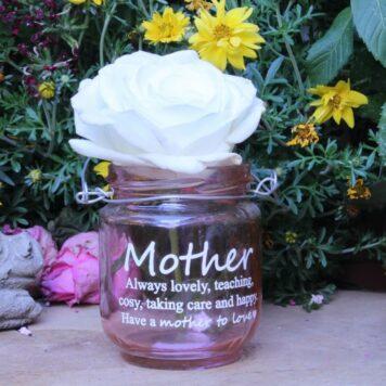 Deko Glas Windlicht Dekoration Mother always lovely Rose