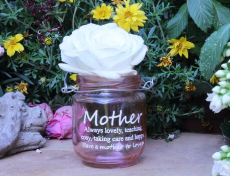Deko Glas Windlicht Dekoration Mother always lovely Rose
