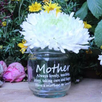 Deko Glas Windlicht Dekoration Mother always lovely