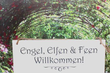 Deko Holzschild Coole Designs Aufhänger Engel, Elfen & Feen, Willkommen!