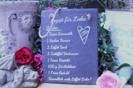 Deko Schieffer Schild Coole Designs Aufhänger Rezept für Liebe