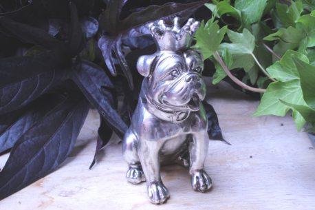 Dekofigur Schutzengel Bulldogge Silber mit Krönchen