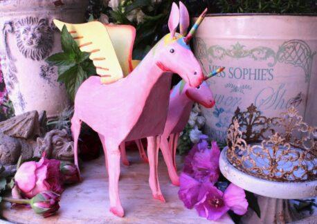 Einhorn Dekofigur Blech Figur Unicorn Fantasy Rosa gross
