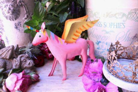Einhorn Dekofigur Blech Figur Unicorn Fantasy Rosa klein