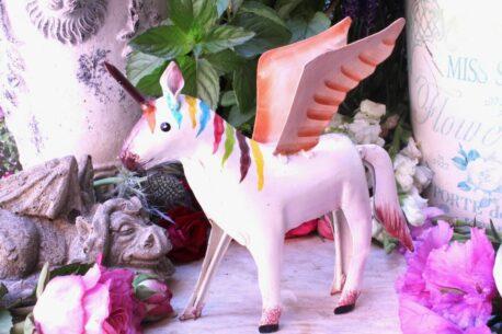 Einhorn Dekofigur Blech Figur Unicorn Fantasy Weiss