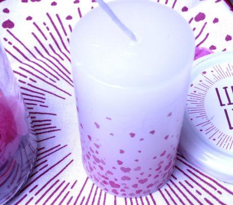 Liebes Licht Kerze mit Deckchen im Glas