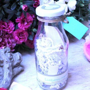 Liebesschwüre Liebespost mit Flaschenpost im Glas
