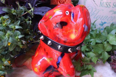 Pomme Pidou Spardose Bulldogge Rot Blumen