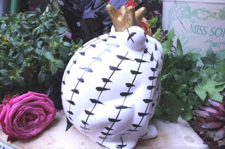 Pomme Pidou Spardose Frosch Freddy Black & White Striche