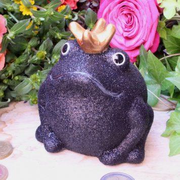 Pomme Pidou Spardose Frosch Klein Black Glitzer