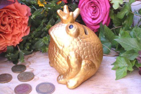 Pomme Pidou Spardose Frosch Klein Gold