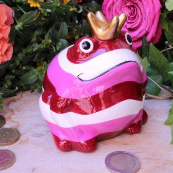 Pomme Pidou Spardose Frosch Klein Rot gestreift