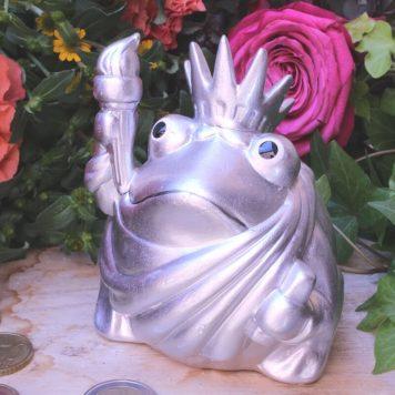 Pomme Pidou Spardose Frosch Klein Silber mit Zepter
