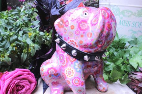 Pomme Pidou Spardose Hund Bulldogge Rosa Blümchen
