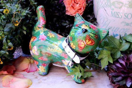 Pomme Pidou Spardose Kitty grün mit weissem Halsband