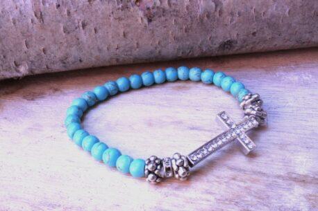 Clayre & Eef Armband Lichtfarbe Türkis mit Kreuz