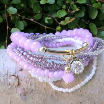 Clayre & Eef Armband Set Perlen Mix Flieder