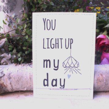 Glückwunsch Karte mit Wunscharmband You Light Up my day