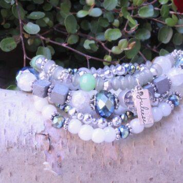 Juleeze Armband Set Bleu Silber