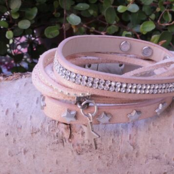 Me Lady Wickel Armband Beige Strass