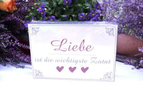 Dio Holzbild Wandbild Petit Spruch Liebe ist die wichtigste Zutat