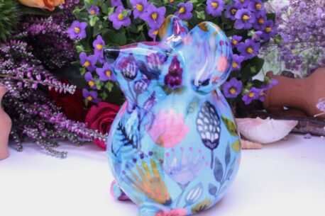 Pomme Pidou Spardose Maus Ini Petite Blue Floral