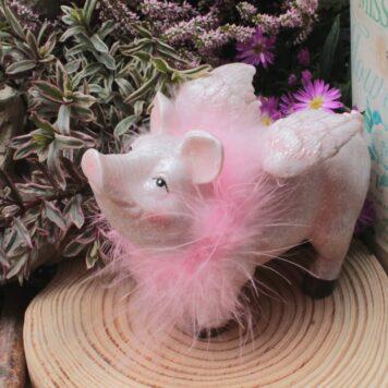 Dekofigur Schutzengel Big Glücksschwein Rosa