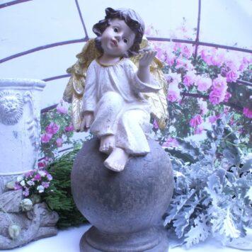 Dekofigur Schutzengel Engel mit Vogel