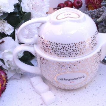 Mea Living Teekanne mit Porzellantasse Lieblingsmensch