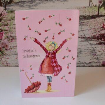 Sabo Design Holzbild Wandbild Spruch Für dich soll's rote Rosen regnen