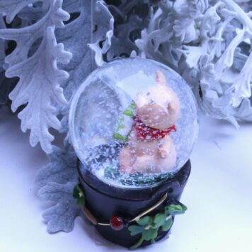 Schneekugel Glimmerkugel Glücksschweinchen Sekt