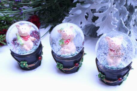 Schneekugel Glimmerkugel Wir die Glücksschweinchen