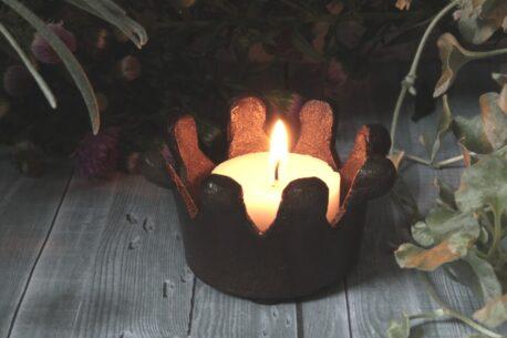 Teelichthalter Krönchen Bronze