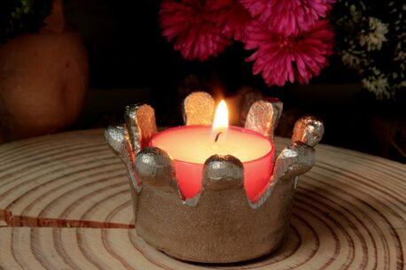 Teelichthalter Krönchen Silber