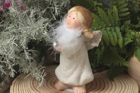 Dekofigur Engel Schutzengel Glasherzchen