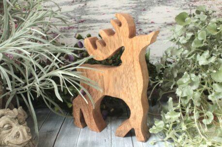 Dekofigur Holz Hirschfigur