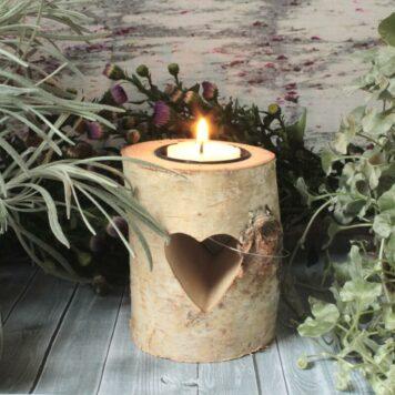 Teelichthalter Holz Stämmchen mit Herz